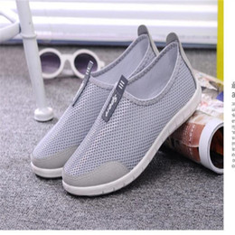 Wholesale Red Foot Pedal - Wholesale- 2016 New Lightweight Mesh Net Breathable Surface Men Women Beach Leisure Fashion Soft Flat Foot Pedal Lazy Loafers