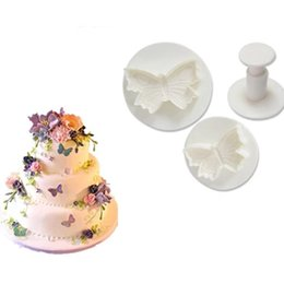 Wholesale Butterfly Cake Decorating Cutter Fondant - 3Pcs Set Christmas Cake Tools Butterfly Plunger Cutter Mold Sugarcraft Fondant Cake Decorating Diy Tool Bakeware Tools