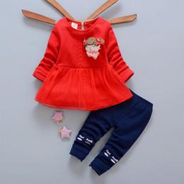 Wholesale Lighting Leggings - New kids clothes 2017 Autumn girl sweater dress+leggings set 2 pieces children long sleeve cotton clothes suit 4s l