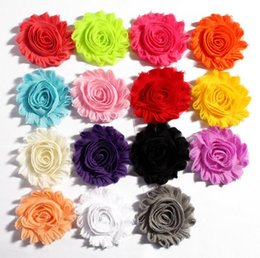 Wholesale Girls Rosette Hair - (150pcs lot)6.5cm 15 Colors DIY Shabby Chiffon Flower Girl Baby Hair Infant Hairband Handmade Rosettes Frayed Headband Accessory T5007