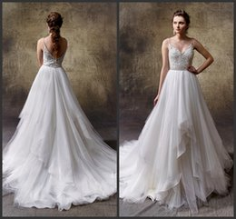 Wholesale Ho Wedding Dresses - Bridal Gowns Spaghettis Backless Deep V Neck Cheap Wedding Dress Long Count Train Tiered Skirt Beautiful Ho Sale Charming Design Appliques