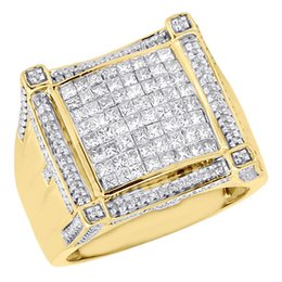 Carré jaune à vendre-10K or jaune diamant princesse diamant mille XL carré Pinky Statement Ring 2 ct.