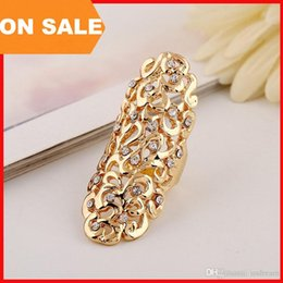 Wholesale Long Fashion Rings Diamonds - Fashion Metal hollow carved diamond ring woman long women Cluster Rings sexy Crystal finger rings statement jewelry Christmas gift 080015