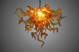Montaje empotrado ámbar led online-Decoración para el hogar Amber Murano Glass Chandelier Envío gratis Lámpara de lujo Dormitorio de artesanía Montaje empotrado Crystal Chandelier Lighting con bombillas LED