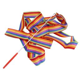 Gymnastik zubehör online-1 stück 4 Mt Universal Gym Dance Ribbon Rhythmische Kunst Gymnastic Streamer Twirling Rod Stick Dance Performace Zubehör kostenloser versand