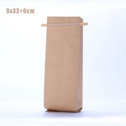 Wholesale Tin Tie Bags Wholesale - 5 pcs 9x33cm 400g Foil Brown Kraft Valve Coffee Bean Bag With Tin Tie