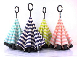 Wholesale Inverted Colors - New hot 4 colors inverted umbrellas with C handle colorful striped double layer windproof beach umbrellas GU01-GU04 free shipping by Fedex
