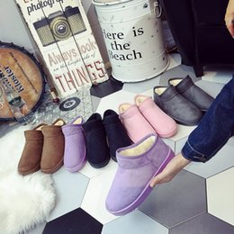 Wholesale Korean Pink Heels - Free shipping 2017 new Australian snow boots female winter bread shoes Korean version of the winter flat bottom short tube low help lazy boo