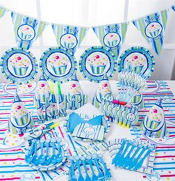 Wholesale Children Birthday Party Themes - birthday party decoration Child Birthday Party Supplies creative cute home decor set 16 kinds of accessories Blue Ice Cream Theme wholesale
