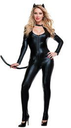 Wholesale Cat Fetish - New Arrival Halloween Sexy Fetish Cat Costume Woman Jumpsuit sexy black catsuit Vinyl Leather Lingerie W297963