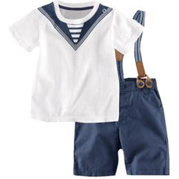 Wholesale Navy Kids Clothes - Kids navy style suit baby boys cotton overalls suit Captain Overalls Clothes two-piece suit 34yt