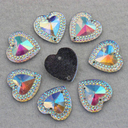 Wholesale Superior Acrylic Flat Back Rhinestones - 16mm 100pcs lot AB Crystal Superior Taiwan Acrylic Flat Back Heart Shape Acrylic Rhinestone Sew On 2 Hole beads ZZ12 M68559
