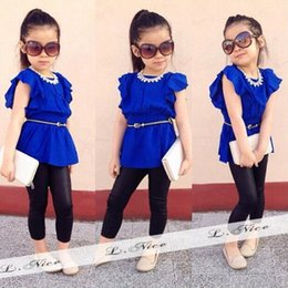 Wholesale Girls Ruffle Pants Cotton - Cool Summer Baby Girls Blouse Trouser Set Chiffon Ruffled Butterfly Sleeve Blouse Legging Set Black Pants Slim Children Clothing SV017496