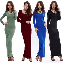 Wholesale Solid Color Maxi Dresses - Fashion Winter Women Long Sleeve O-Neck Solid Slim Casual Party Cocktail Ladies Ankle-Length Dress 12 Color 4 Size