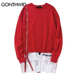 Hoodies estendidos on-line-Atacado-GONTHWID Frente Longo Zipper Voltar Fita Hoodies Hip Hop Patchwork Extended Pullover Camisolas Moda Double Layer Streetwear
