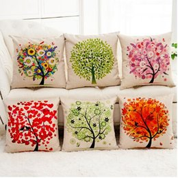 Wholesale Hand Painted Pillows - The tree of life Home Furnishing sofa bed pillow car 7 color 44*44 with hand-painted style on the linen pillow case cushion cushion