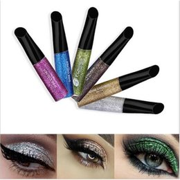 Wholesale White Liquid Liner - 6 Colors Hot Sale Waterproof Eyeliner eyeshadow Liquid Make Up Beauty Eye Liner Glitter Shimmer Shiny Makeup Comestics