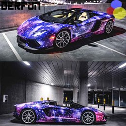 Wholesale Rolled Roofing - Galaxy Vinyl Wrap Sticker bomb Starry sky Vinyl Car Wrap Film sticker bomb decal with air release 1.52X20M Roll (5x64ft)