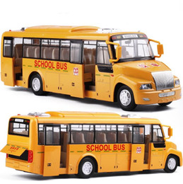Wholesale model bus toys - Live voice high simulation school bus, 1:32 alloy pull back school bus model toys diecasting metal model 2open doors&light children's gifts