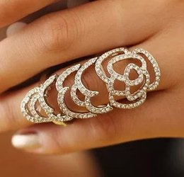 Wholesale Joint Armor Full Finger Ring - 2016 Newest Gothic Punk Rock Rhinestone Cross Knuckle Joint Armor Long Full Finger Ring Rose hollow full diamond ring Gift for women girl