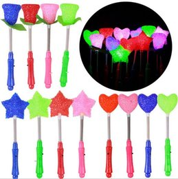 Wholesale Star Shaped Glow Sticks - Flashing Light Novelty LED Glow Star Wand Mixed Rose Heart Shaped Stick Concert Party Led Toys