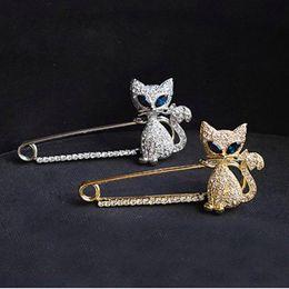 Wholesale South Korea Cat - Brooch for Women Jewellery Fox Brooch - Japan and South Korea Hot Sale Green-eyed Cat Fox Rhinestone Animal Brooch Pin Christmas Brooches