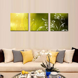 Wholesale Oil Picture Flower - 3 Pieces Modern Kitchen Canvas Paintings Charming Beautiful Flower Theme Oil Wall Art Oil Painting Set Bar Bed Room Decorative Pictures