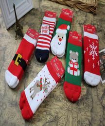 Calze modello ragazza online-Calzini del fumetto di Natale del neonato Calzini di inverno dei calze dei bambini di inverno Calzano i calzini delle ragazze del ragazzo di Red Soose del modello caldo delle alci