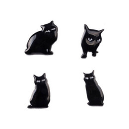 Wholesale Cheap Jewelry Pins - Wholesale- New Women Girl Accessories Fashion Cute Cat brooches Badge Pin Collar brooch black cat Jewelry Gift Free Ship Wholesale cheap