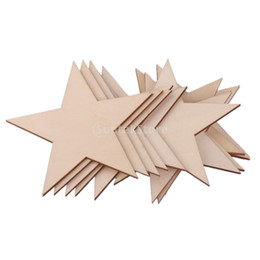 Wholesale Wooden Embellishments - Wholesale- SUNTEK 3mm Thick Star Shape Wooden Embellishments for DIY Crafts 10pcs 80mm Free Shipping