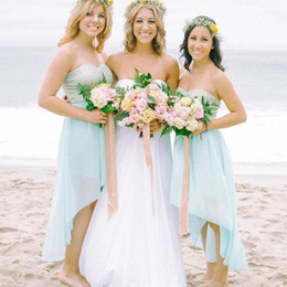 Wholesale Hi Lo Blue Chiffon - Beach Bridesmaid Dresses High Low 2016 Light Sky Blue Chiffon Sweetheart Summer Hi Lo Style Wedding Party Junior Gowns For Girls
