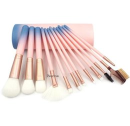 Wholesale Cylinder Pc - 12 Pcs Makeup Brushes Set Brands Cosmetic Tool Makeup Brush Kit Brands Cylinder Gradient Handle Blush Brush Set Beauty Makeup Sets Wholesale