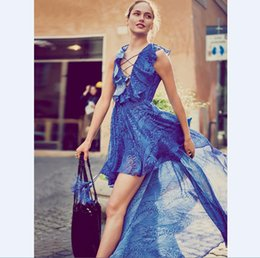 Wholesale People V - US UK 2018 Summer Women V neck Hippie Boho People Blue print Asymmetrical High low Maxi dress Female Ethnic Bohemian Vestido