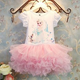 Wholesale Lowest Price Dress Kids Girls - Wholesale Baby Girls Clothes Lace Tutu Dresses Childrens Cartoon Dresses for Kids Clothing 2016 Pleated Party Dress Low price