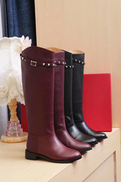 Wholesale Womens High Heels Booties - Knee high Flat Boots Wine Red Black Color Long Booties Female Fashion Brand Leather Womens Motorcycle Boot
