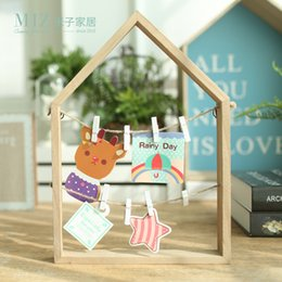 Wholesale Office Card Stock - Wholesale- Miz Home 1 Piece Wooden Creative Message Photo Clip Stand Memo Clip Note Holder Card Holder for Office Home Hotel BJ030041