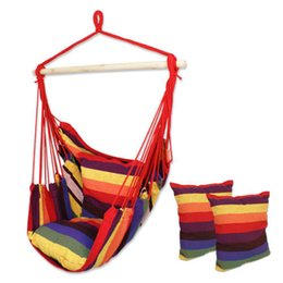 Wholesale Swings Chairs - Outdoor Cotton Striped Hanging Hammock Rope Chair Porch Camping Patio Swing Seat