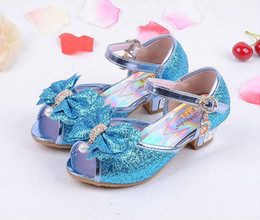 Wholesale Leather Straps For Shoes - Children Princess Sandals Kids Girls Wedding Shoes High Heels Dress Shoes Party Shoes For Girls 4 Colors