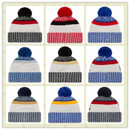 Wholesale Striped Sun Hats Women - Cotton All Team Football Pom Pom Beanies Men Women Winter Hats With Pom Cheap Sports Skull Caps Hot Sale
