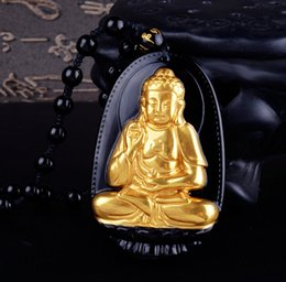 Wholesale Jade Carving Amulet - Wholesale- High Quality Gold+ Natural Black Obsidian Carved Buddha Lucky Amulet Pendant For Women Men pendants Jade Jewelry