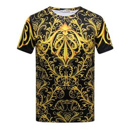 Wholesale Golden Palace T Shirt - 3D Golden Gothic style palace printing Top Quality Cotton new brand Novelty Street style men's Short Sleeve T-shirt Fashion O-Neck Casual