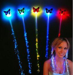Wholesale Led Light Wigs - LED Hair Light Emitting Fiber Optic Pigtail Braid Plait Luminous Hair Wig KTV Party Prom Supplies Hair Accessory headdress