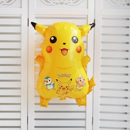 Wholesale Decorative Models - free shipping 2017 Cartoon Helium Foil Balloons Pikachu toy Ballons For Kids Birthday Wedding Party Decoration