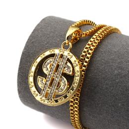 Wholesale Dj Plates - night DJ round Dollar US Money Sign Chain With Rhinestone Gold Plated Hip Hop Rap Singer Fashion Jewelry For Men dollar