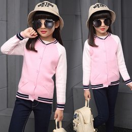 Wholesale Fashionable Boys Clothes - Wholesale- The newborn child autumn clothing hit color knit sleeve slit baseball jacket all fashionable girl sweater WER17