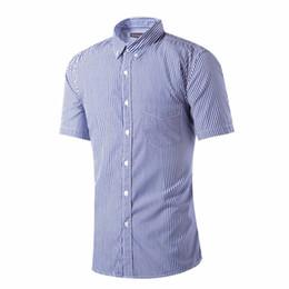 Wholesale Shirts Cotton Short Men - Wholesale-Fashion Classic Men Casual Striped Shirt Summer Short Sleeved Cotton Shirts Design Brand High Quality Fit Casual Men Clothes