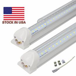 Wholesale Tube Led Cooler Door Lights - Super bright V Shaped 4ft 5ft 6ft 8ft led tubes light Integrated led t8 tubes light for cooler door lighting ac 110-240V UL