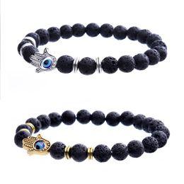 Wholesale Man Evil Eye Bracelet - New Fashion Man Bracelets Lava Stone Stretch Hand Of Fatima Hamsa Hand Bracelet Of Mala Evil Eye Bracelet B970S