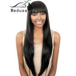 Wholesale Black Wig Straight Long Bangs - Synthetic african american wigs for women Long straight yaky texture black Afro wig with china bangs