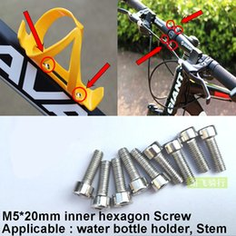 Wholesale Stainless Screw M5 - Wholesale-10pcs Bike Bicycles Water Bottle Cage Bolts M5*20mm Stainless Steel Threaded Screws for Stem Bottle Holder Bracket Rack Cycling